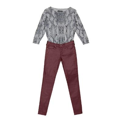 python pattern knit gray & artificial leather pants burgundy